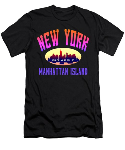 New York Manhattan Island Design Men's T-Shirt (Athletic Fit)
