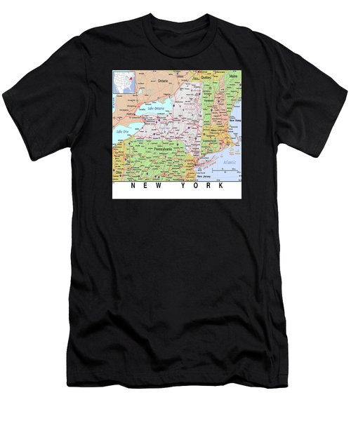 New York Map Men's T-Shirt (Athletic Fit)