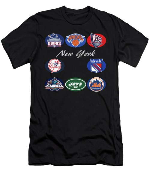 New York Professional Sport Teams Collage  Men's T-Shirt (Athletic Fit)