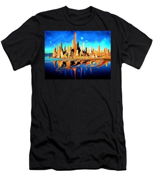 New York Skyline In Blue Orange - Modern Fantasy Art Men's T-Shirt (Athletic Fit)