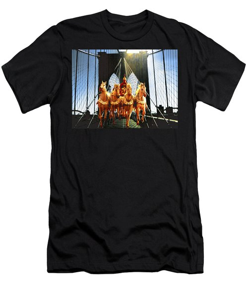 New York Brooklyn Bridge Fantasy Collage Men's T-Shirt (Athletic Fit)