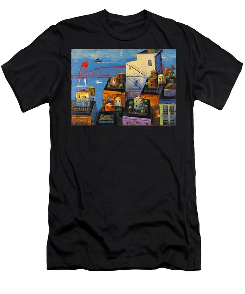 Men's T-Shirt (Slim Fit) featuring the painting New York,red Bridge by Mikhail Zarovny