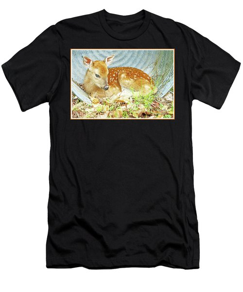 Newborn Fawn Takes Shelter In An Old Washtub II Men's T-Shirt (Athletic Fit)