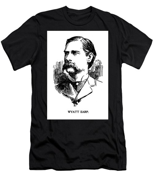 Men's T-Shirt (Slim Fit) featuring the mixed media Newspaper Image Of Wyatt Earp 1896 by Daniel Hagerman