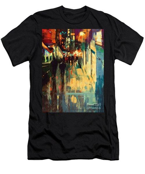 Night Alleyway Men's T-Shirt (Athletic Fit)