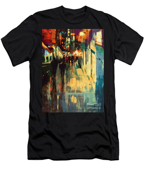 Night Alleyway Men's T-Shirt (Athletic Fit)
