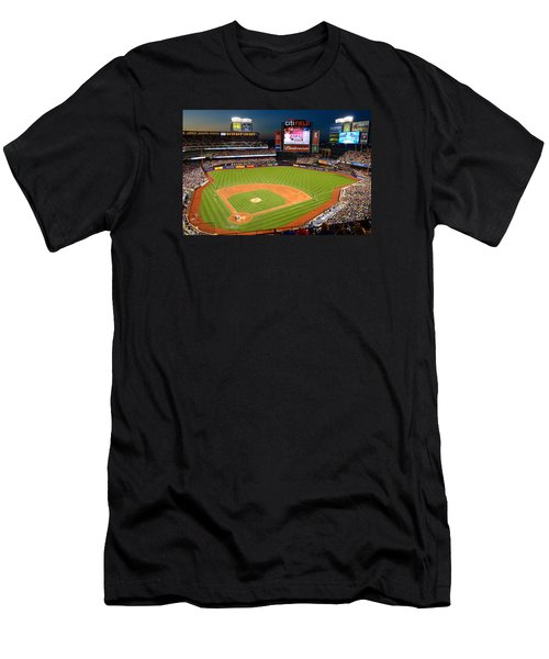 Night Game At Citi Field Men's T-Shirt (Slim Fit) by James Kirkikis