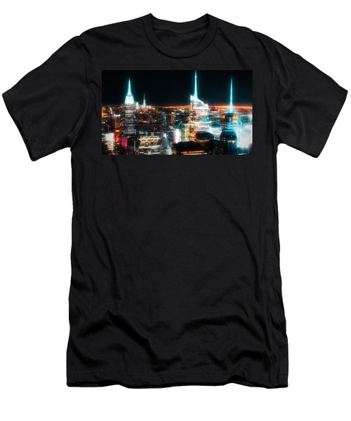 Men's T-Shirt (Athletic Fit) featuring the mixed media Night Glow New York City by Dan Sproul