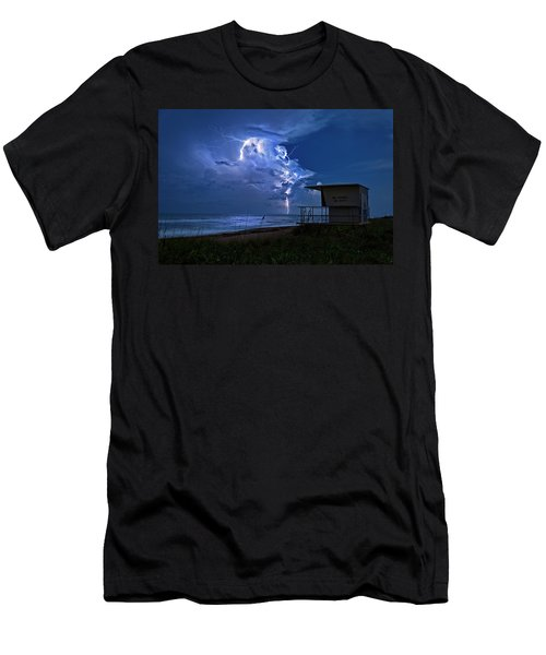 Night Lightning Under Full Moon Over Hobe Sound Beach, Florida Men's T-Shirt (Slim Fit) by Justin Kelefas