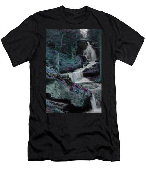Night Rainbow Waterfall Men's T-Shirt (Athletic Fit)