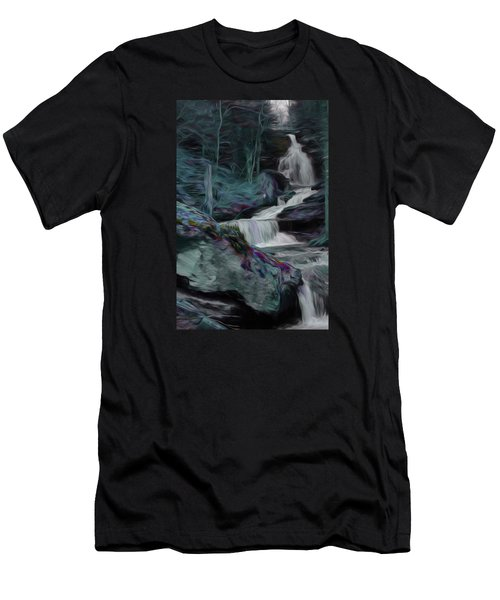 Night Rainbow Waterfall Men's T-Shirt (Athletic Fit)
