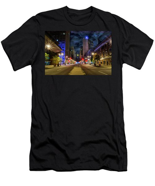 Men's T-Shirt (Athletic Fit) featuring the photograph Night Shot Of Broad Street - Philadelphia by Bill Cannon