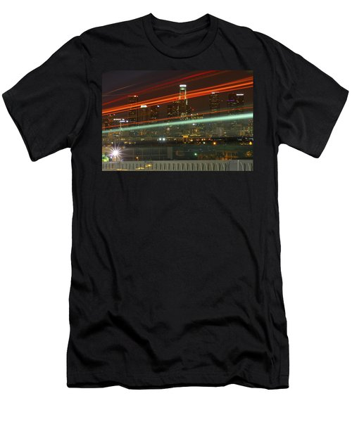 Night Shot Of Downtown Los Angeles Skyline From 6th St. Bridge Men's T-Shirt (Athletic Fit)