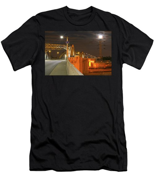 Night Shot Of The Los Angeles 6th Street Bridge And Supermoon #1 Men's T-Shirt (Athletic Fit)