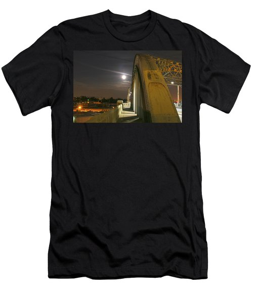 Night Shot Of The Los Angeles 6th Street Bridge And Supermoon #6 Men's T-Shirt (Athletic Fit)
