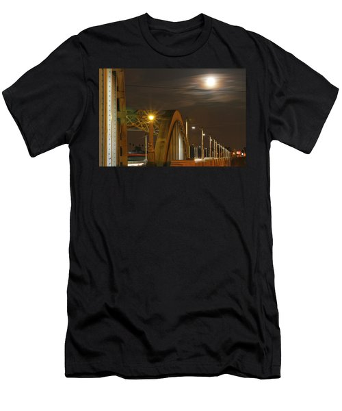 Night Shot Of The Los Angeles 6th Street Bridge And Supermoon #7 Men's T-Shirt (Athletic Fit)