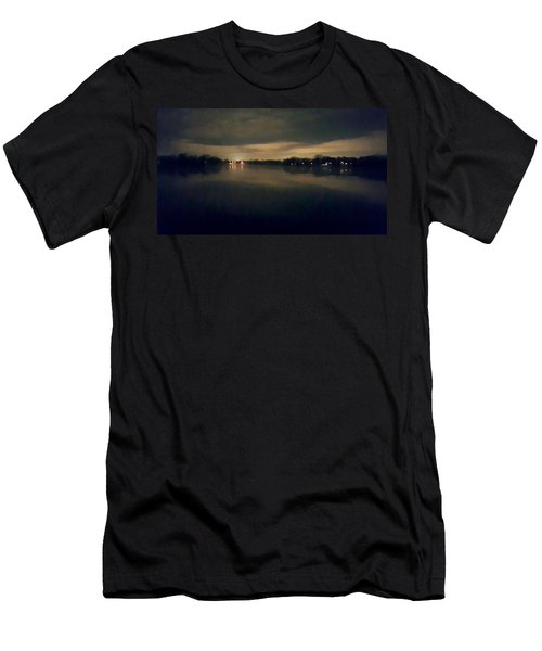 Night Sky Over Lake With Clouds Men's T-Shirt (Athletic Fit)