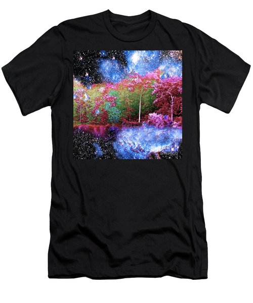 Night Trees Starry Lake Men's T-Shirt (Athletic Fit)