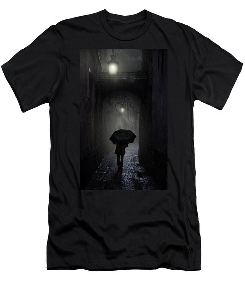Men's T-Shirt (Athletic Fit) featuring the photograph Night Walk In The Rain by Jaroslaw Blaminsky