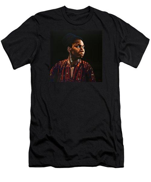 Nina Simone Painting Men's T-Shirt (Slim Fit) by Paul Meijering