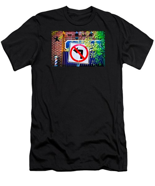 No Left Turn Men's T-Shirt (Slim Fit) by Colleen Kammerer