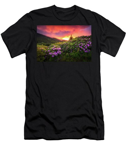 North Carolina Mountains Outdoors Landscape Appalachian Trail Spring Flowers Sunset Men's T-Shirt (Athletic Fit)