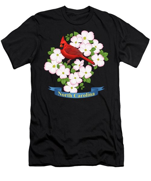 North Carolina State Bird And Flower Men's T-Shirt (Athletic Fit)