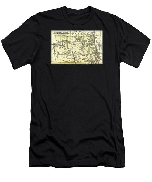 North Dakota Antique Map 1891 Men's T-Shirt (Athletic Fit)