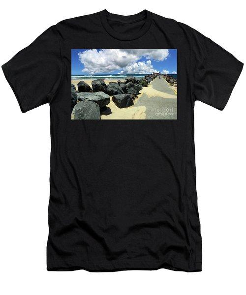North Haven Breakwater Walkway By Kaye Menner Men's T-Shirt (Athletic Fit)