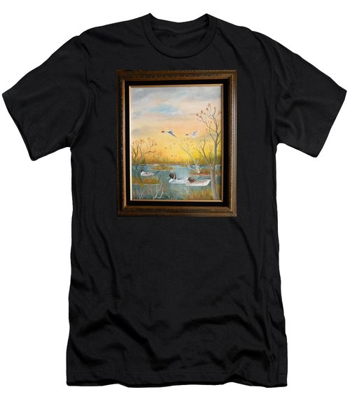 Men's T-Shirt (Slim Fit) featuring the painting Northen Pintails by Al  Johannessen
