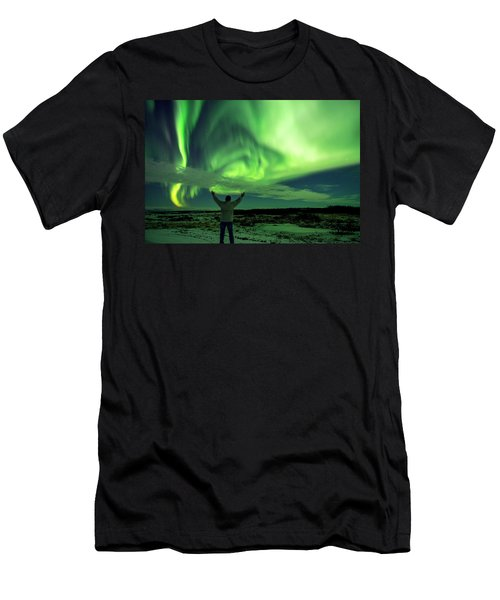 Northern Light In Western Iceland Men's T-Shirt (Slim Fit) by Dubi Roman