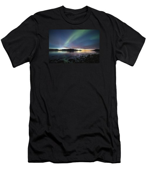 Northern Lights Meet Sunset Men's T-Shirt (Athletic Fit)