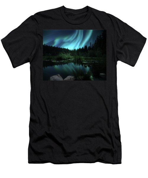 Men's T-Shirt (Athletic Fit) featuring the photograph Northern Lights Over Lily Pond by Gigi Ebert
