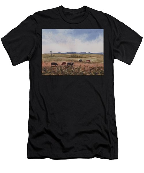 Men's T-Shirt (Athletic Fit) featuring the painting Northwest Oklahoma Cattle Country by Sam Sidders