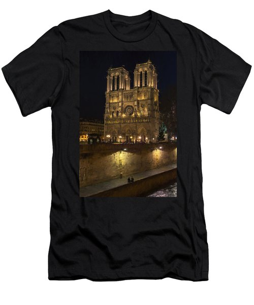 Notre Dame Night Painterly Men's T-Shirt (Athletic Fit)