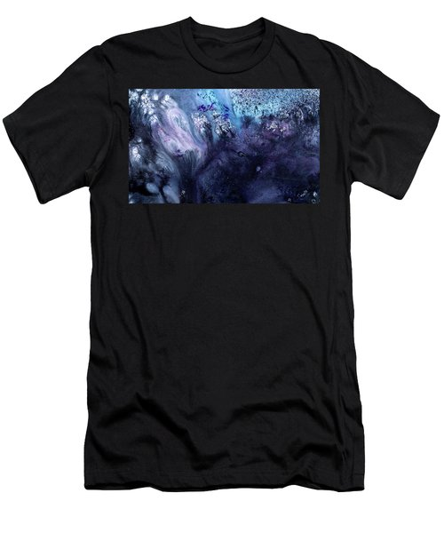 November Rain - Contemporary Blue Abstract Painting Men's T-Shirt (Athletic Fit)