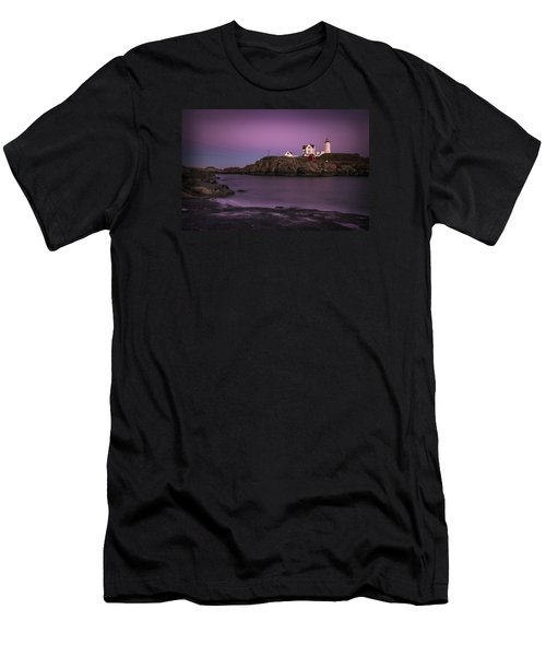 Nubble Lighthouse At Dusk Men's T-Shirt (Athletic Fit)