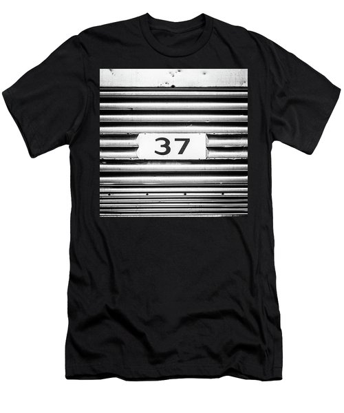 Men's T-Shirt (Slim Fit) featuring the photograph Number 37 Metal Square by Terry DeLuco