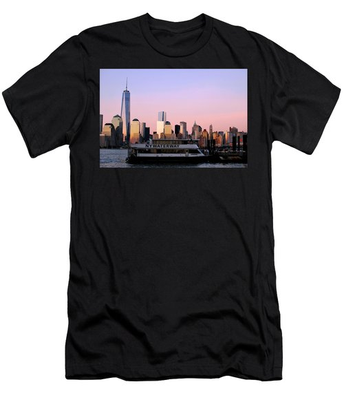 Nyc Skyline With Boat At Pier Men's T-Shirt (Athletic Fit)