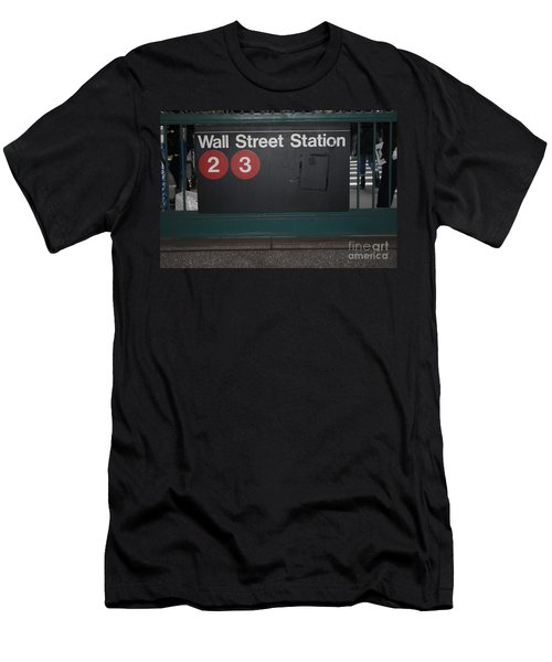 Nyc Wall Street Subway Entrance Men's T-Shirt (Athletic Fit)