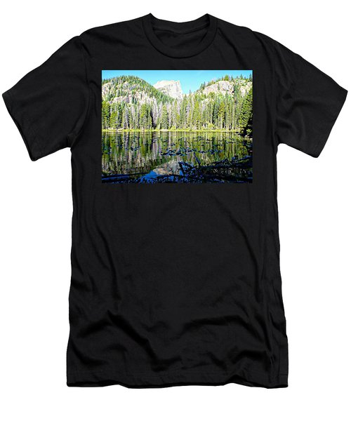 Nymph Lake And Flattop Mountain Men's T-Shirt (Slim Fit) by Joseph Hendrix