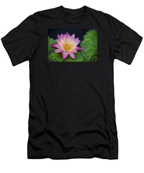 Men's T-Shirt (Slim Fit) featuring the photograph Nymphaea Hot Pink Water Lily by Deborah Smolinske