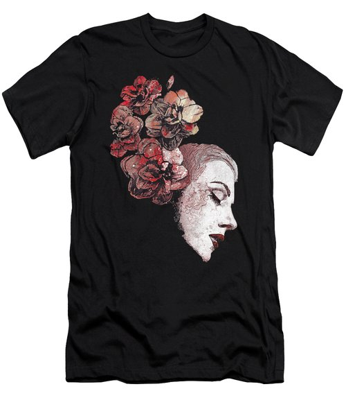 Obey Me - Blood - Graffiti Flower Lady Portrait Men's T-Shirt (Athletic Fit)