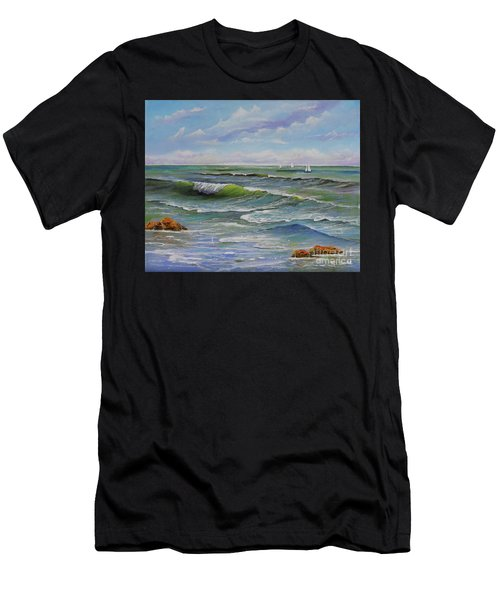 Men's T-Shirt (Athletic Fit) featuring the painting Ocean Breeze by Mary Scott
