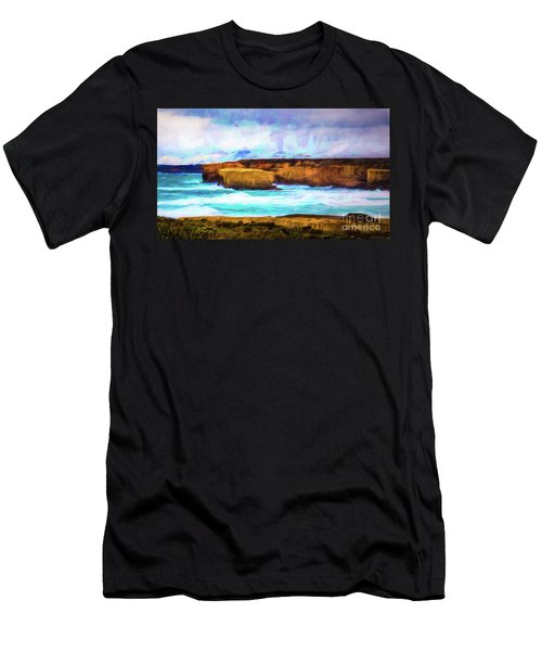 Men's T-Shirt (Slim Fit) featuring the photograph Ocean Cliffs by Perry Webster