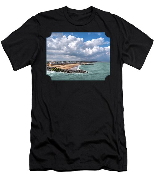 Ocean View - Colorful Beach Huts Men's T-Shirt (Athletic Fit)