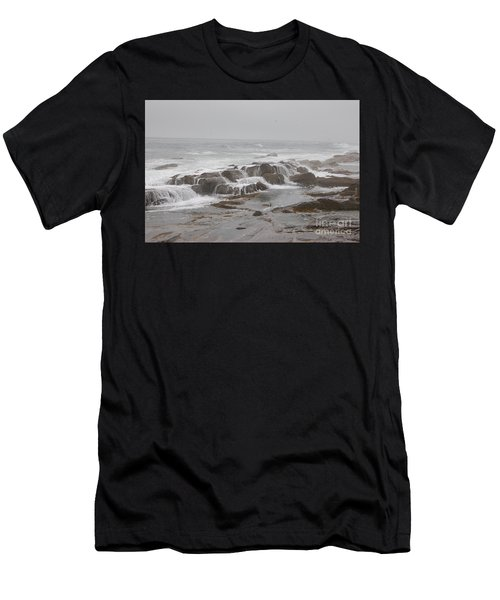 Men's T-Shirt (Athletic Fit) featuring the photograph Ocean Waves Over Rocks by Frank Stallone