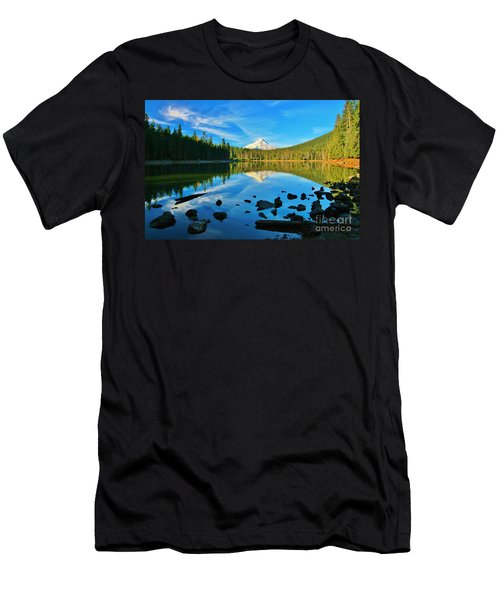 October On The Lake Men's T-Shirt (Slim Fit) by Sheila Ping