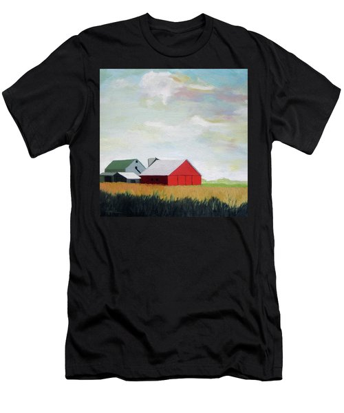 Ohio Farmland- Red Barn Men's T-Shirt (Athletic Fit)