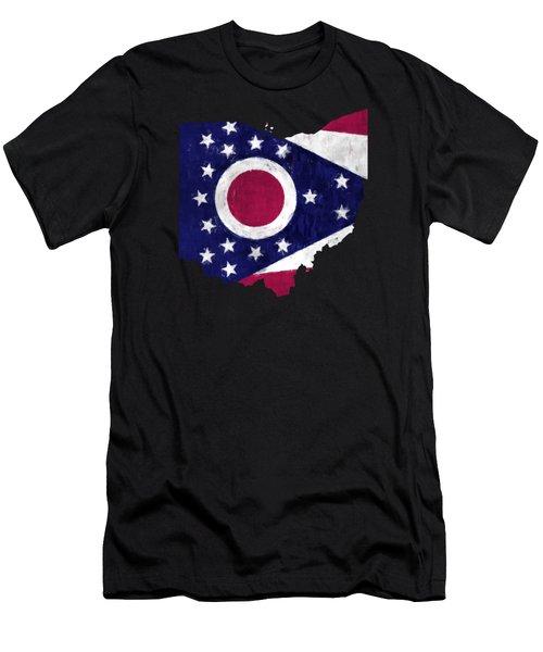 Ohio Map Art With Flag Design Men's T-Shirt (Athletic Fit)